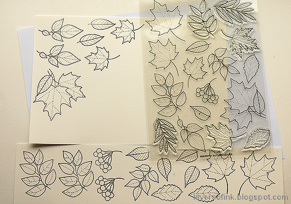 Layers of ink - Autumn Sketchbook / Notebook diy Tutorial by Anna-Karin Evaldsson. Stamp the leaves.
