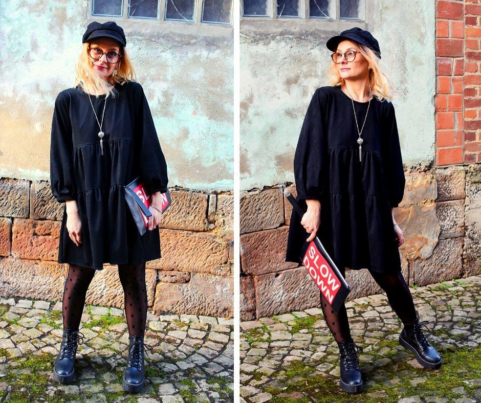 Lederkleid-schwarz-Outfit-Frau