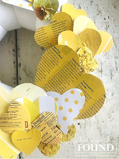 art,wall art,DIY,diy decorating,paper crafts,paper,vintage paper,Valentine's Day,re-purposing,up-cycling,trash to treasure,wreaths,winter,color,color palettes,colorful home,Pantone color of the year,Illuminating Yellow,Ultimate Gray,Pantone 2021,yellow and gray,hearts, heart decor,decorating with hearts,Valentine's Day decor,Valentine hearts,heart wreath,paper hearts, Disney decor, Disneyland tickets