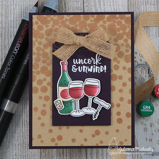 Wine card by Juliana Michaels | Wine a Little Stamp Set, Bubbly Stencil and Fancy Edge Tag Die Set  by Newton's Nook Designs #newtonsnook #handmade #winestamps