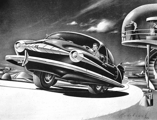a 1952 Arthur Radebaugh concept test track illustration