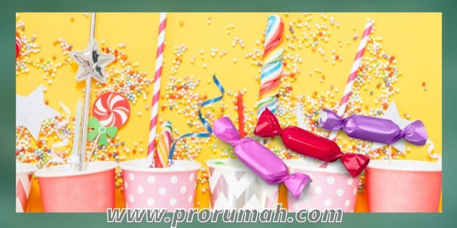 dekorasi ulang tahun di rumah - desain candy rush