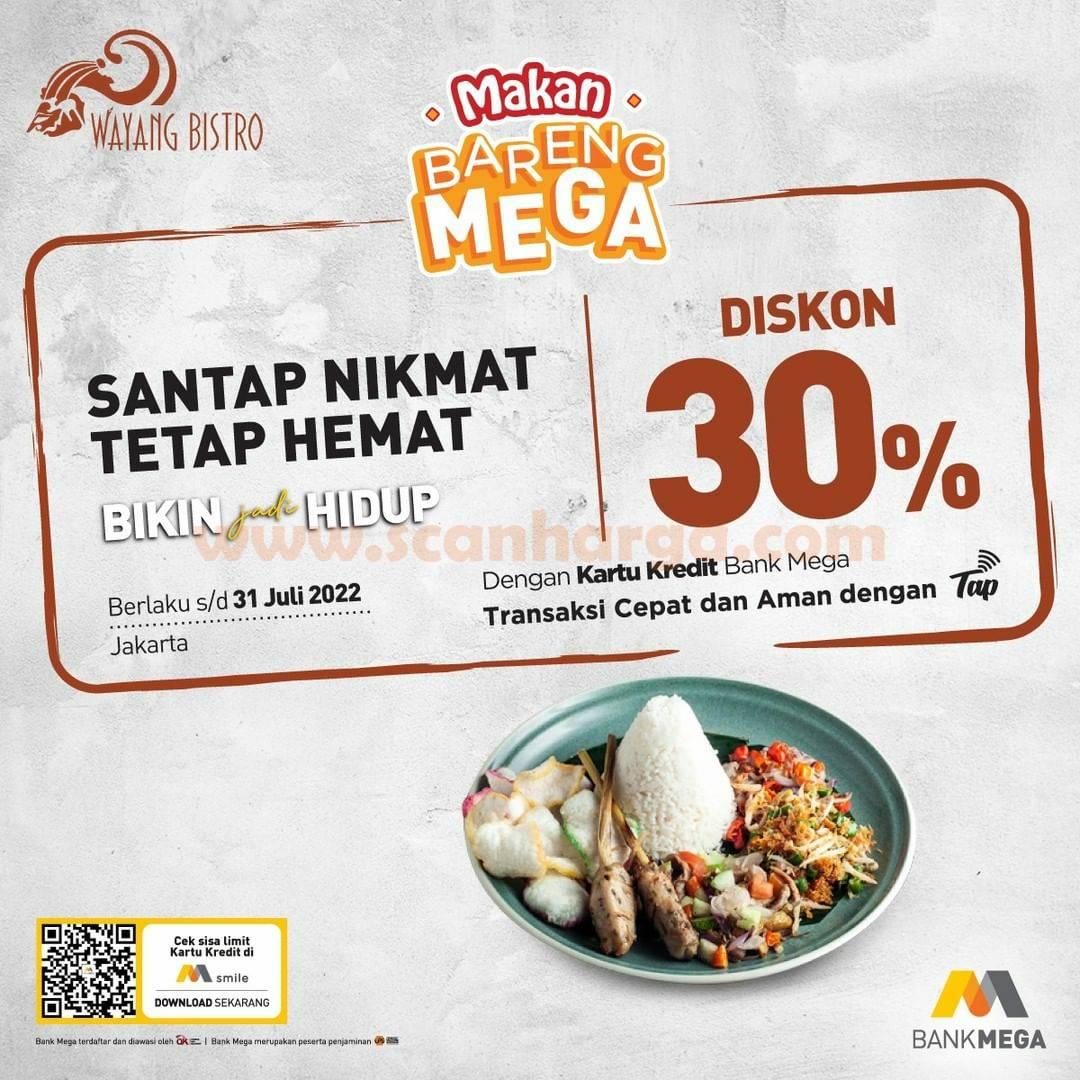 Promo WAYANG BISTRO Diskon 30% dengan Kartu Kredit Bank MEGA