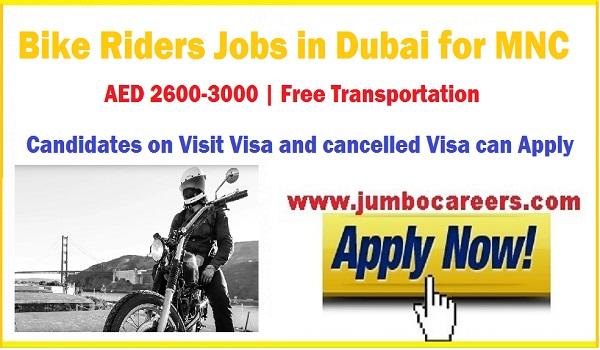 Latest bike riders jobs in Dubai with transportation, New jobs in UAE,