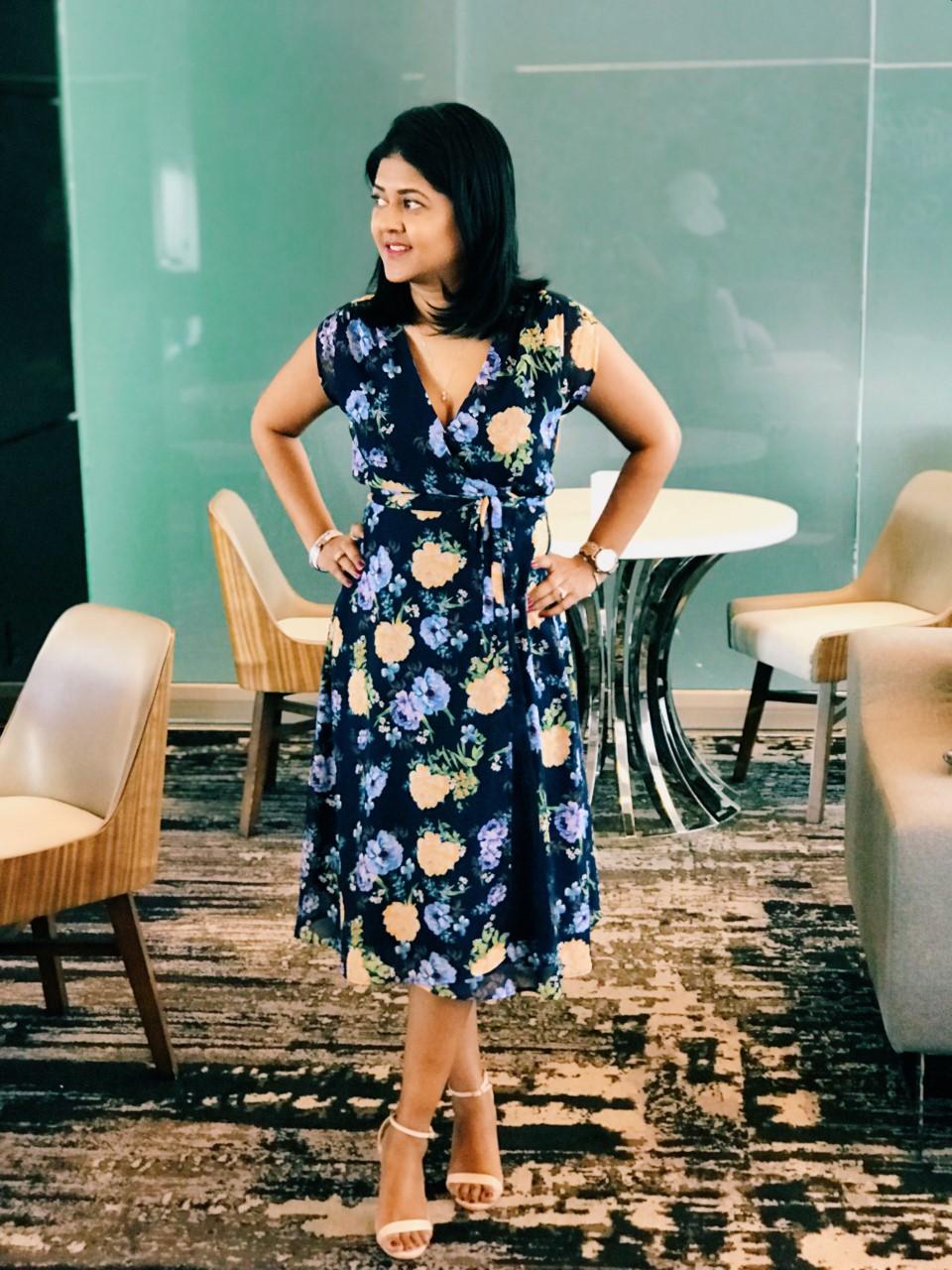 blue spring floral dress