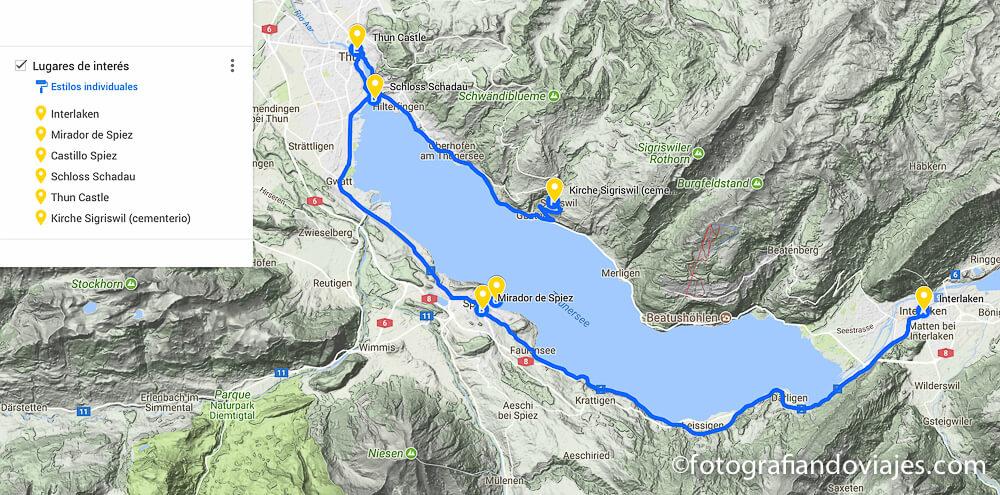 Recorrrido en coche por el lago Thun Suiza