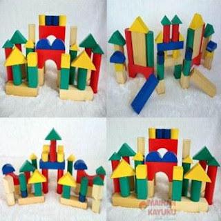 Contoh mainan balok kayu susun murah