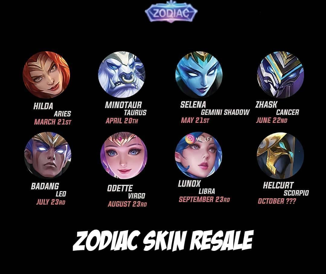 kapan rilis skin zodiac mobile legends