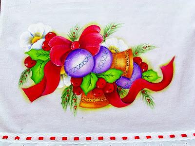 pintura tecido sinos bolas de natal e flores