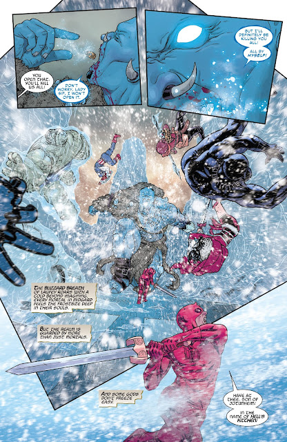 Laufey the King of Frost Giants, eats the Casket of Ancient Winters to breathe out chilling wind in War of the Realms Issue #6.