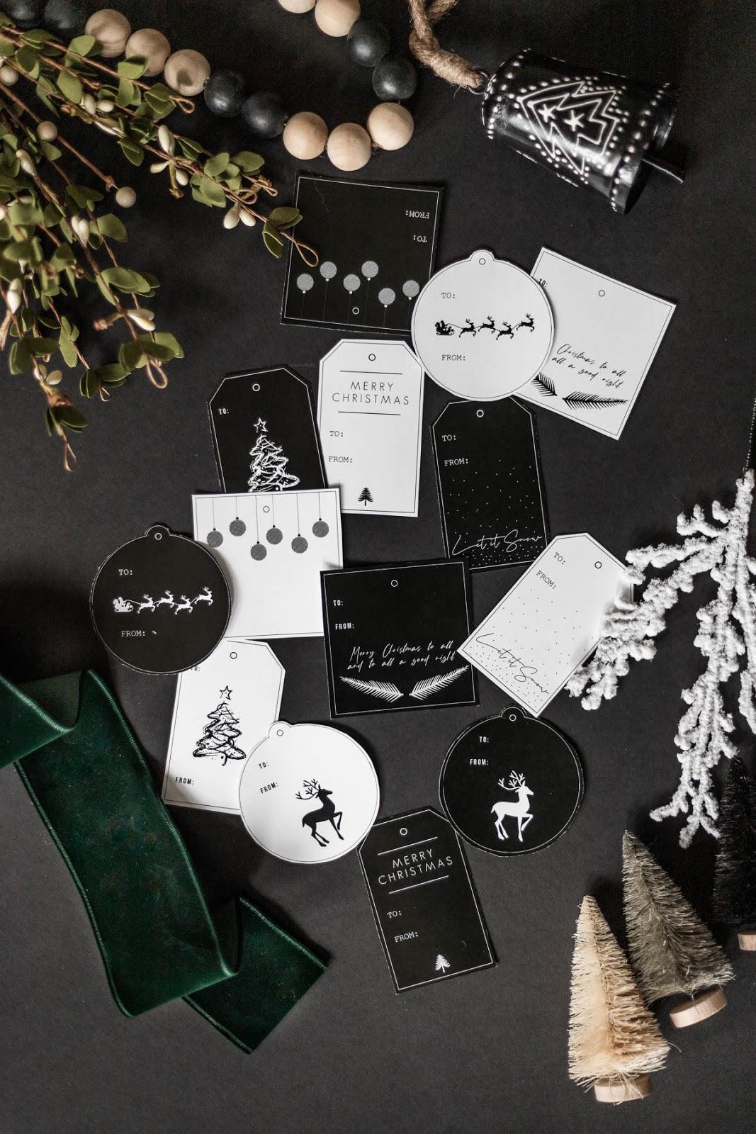 Modern free Christmas tag printables