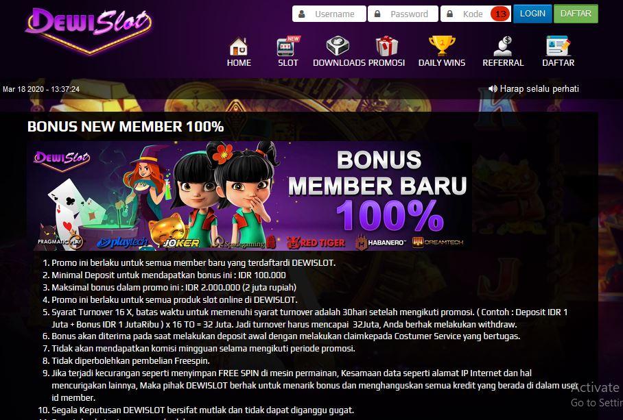 Aneka Bonus New Member 100 Di Dewislot