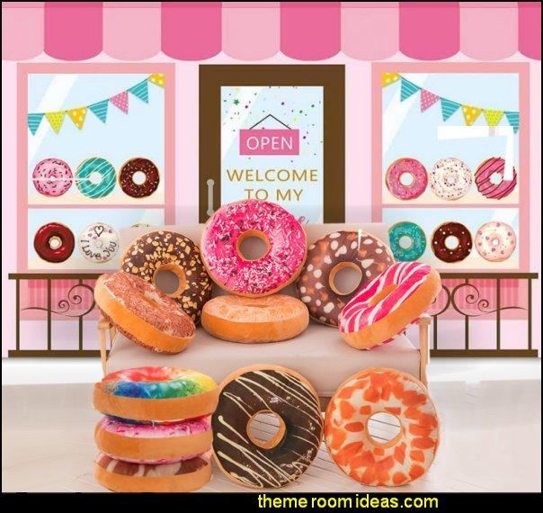 Donut Shoppe Backdrop Donut pillows Sweet Dessert Shop Themed  decor