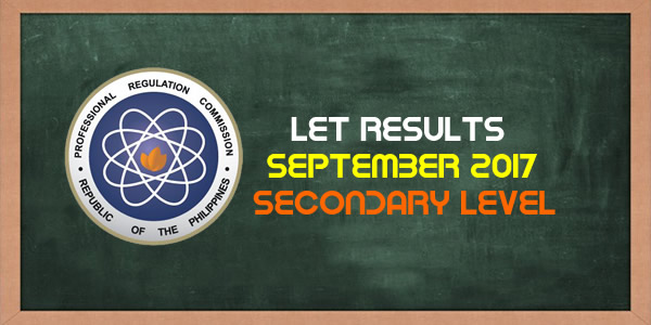 List of Passers September 2017 LET Results Secondary Level