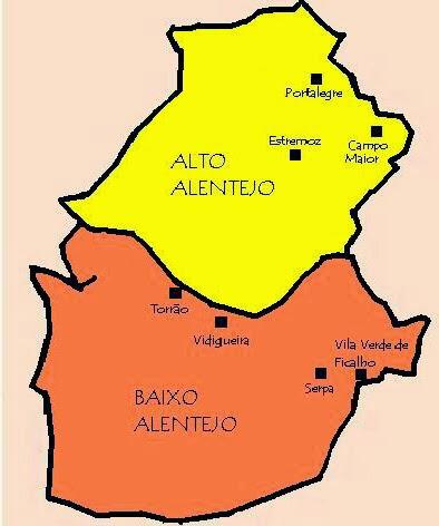 mapa do alto e baixo alentejo Conhecer Portugal, o Alentejo mapa do alto e baixo alentejo