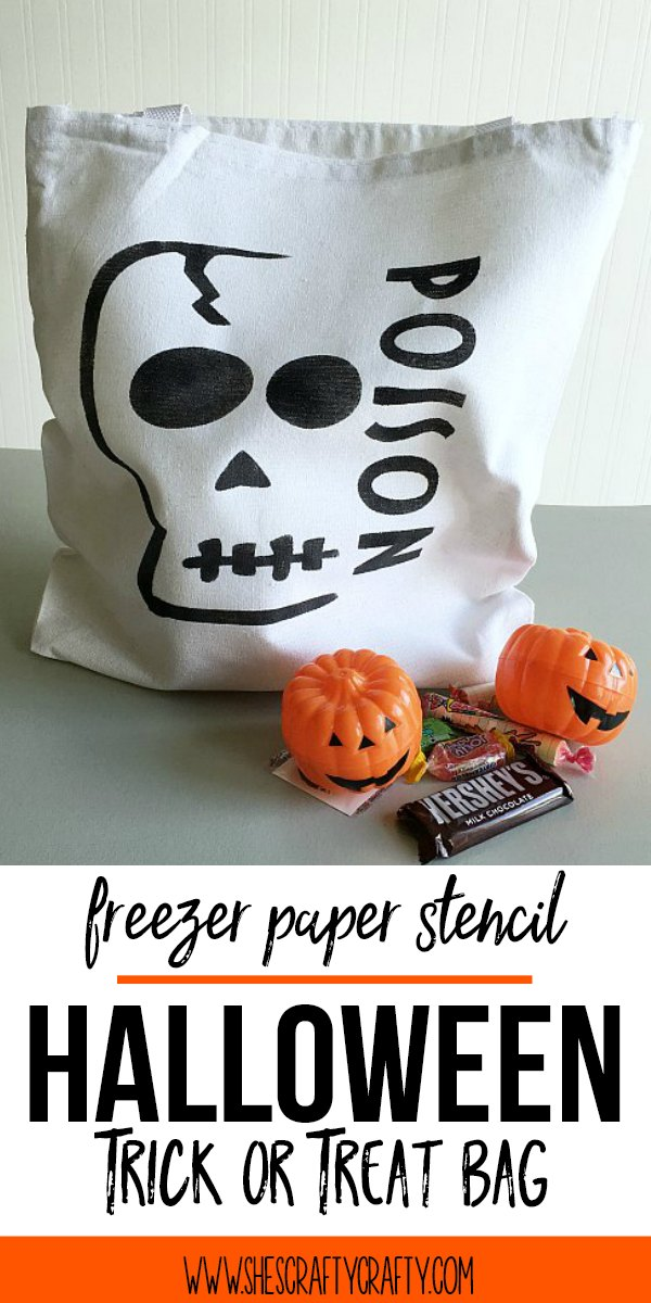 skull trick or treat bag, poison trick or treat bag, canvas bag