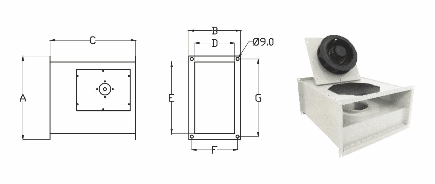 Dimensions - Rectangular Inline Fans