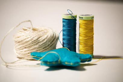thread work creativity sewing felt star yellow string blue