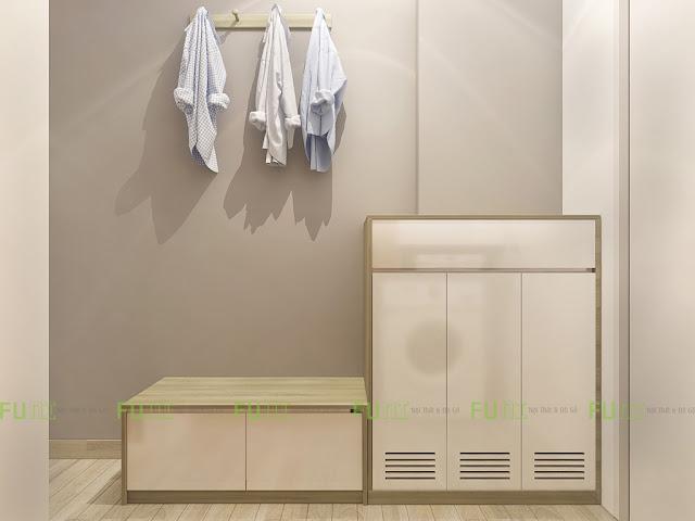 Thiết kế và thi công căn hộ chung cư ~30m2 có gác lửng - Tủ giày
