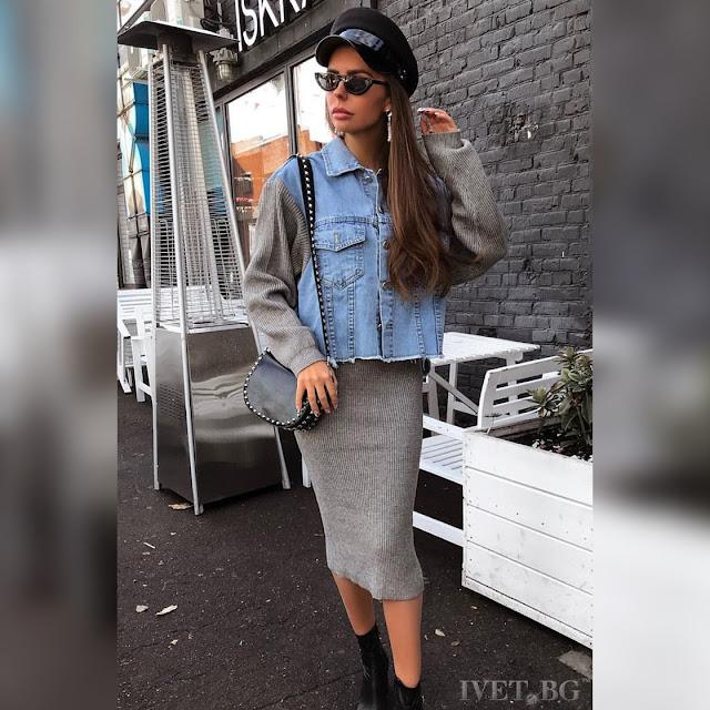 Εντυπωσιακό γυναικείο μπλε -  γκρι σύνολο MAGNORA - Τζιν μπουφάν και πλεκτή φούστα