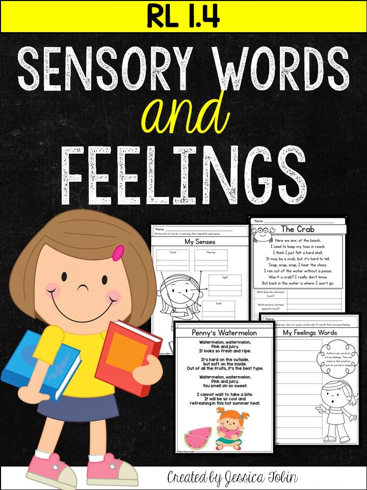 Poetry Unit- using words and text to convey meaning- using sensory words and feeling in texts- common core aligned standards resource- RL1.4, RL2.4