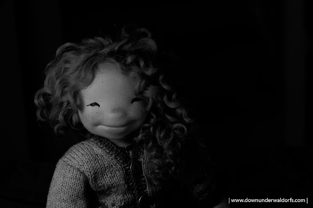 doll photography, using invisible black backdrop for doll photography, playing with dolls, Natural Fiber Art dolls by Down Under Waldorfs