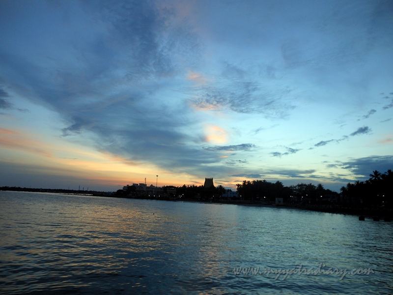 Magnificient sunset during boat ride in Rameswaram, Tamil Nadu