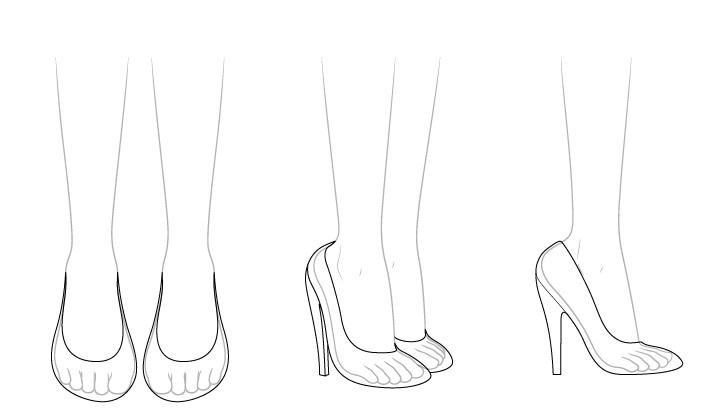 Sepatu hak tinggi anime melihat melalui gambar
