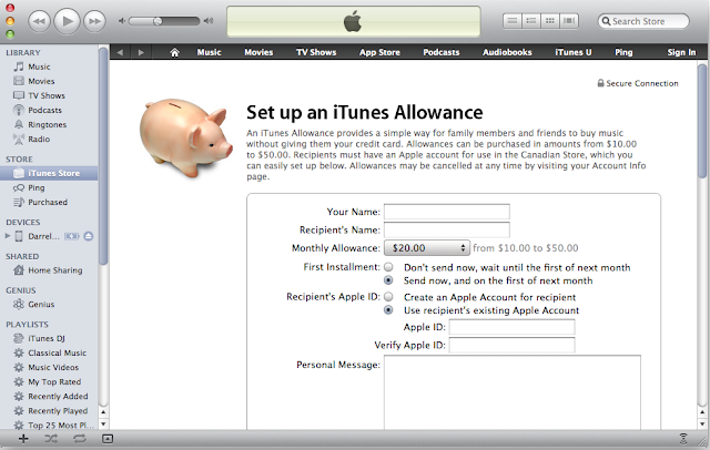A Apple está terminando iTunes Allowance