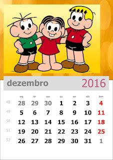 Calendário Turma da Mônica 2016 Dezembro