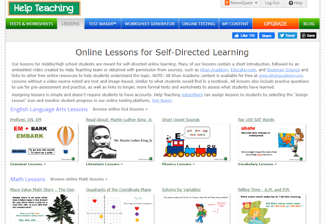 Online Lessons for Self-Directing Learning on HelpTeaching.com