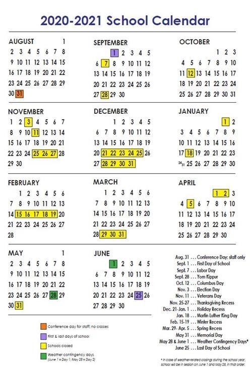 Nyc Board Of Ed Calendar 2021-22 NYC DOE Calendar 2020 2021