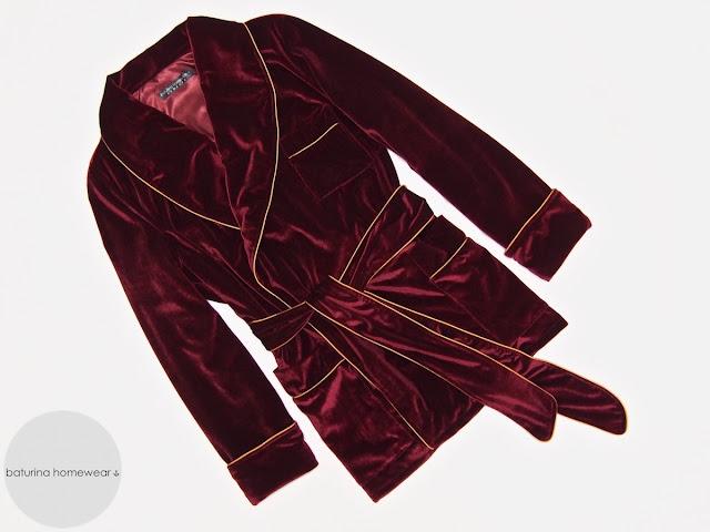 Mens burgundy red velvet smoking jacket robe dressing gown