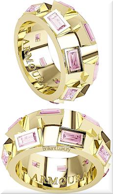 ♦Armoura 45 Degree ring in 18k yellow gold with pink diamonds #jewelry #armoura #brilliantluxury