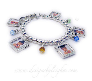 Mom Picture Frame Bracelet with Photo Charms