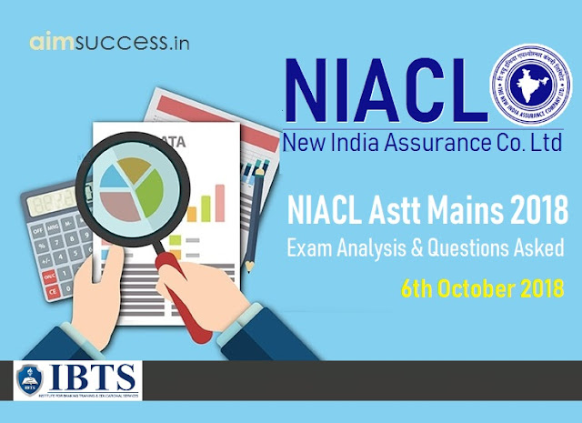 NIACL Assistant Mains Exam Analysis & Questions Asked 6th October 2018