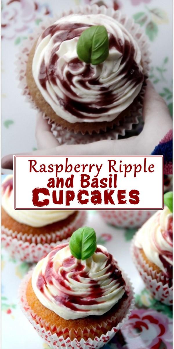 Raspberry Ripple and Basil Cupcakes #Cupcakesrecipes