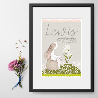 Little Hare personalised meaning of name print, nursery art from PhotoFairytales.co.uk