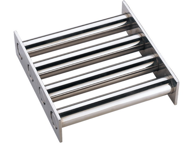 Magnetic grate square style for hopper bin chute and housing