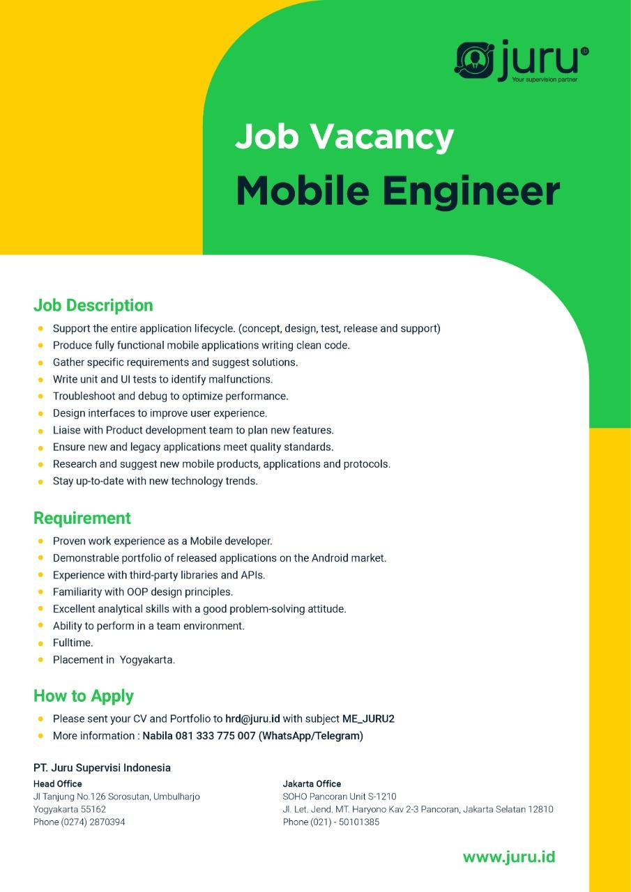 Lowongan Kerja Mobile Engineer