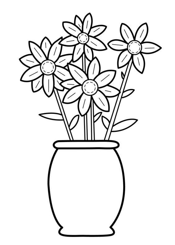 Hình tô màu bình hoa đơn giản đẹp cho bé