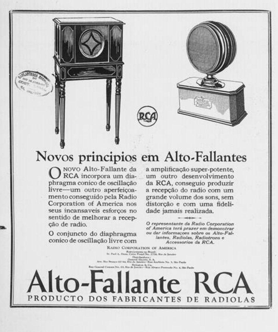 Anúncio antigo da RCA apresentando sua linha de alto falantes em 1926