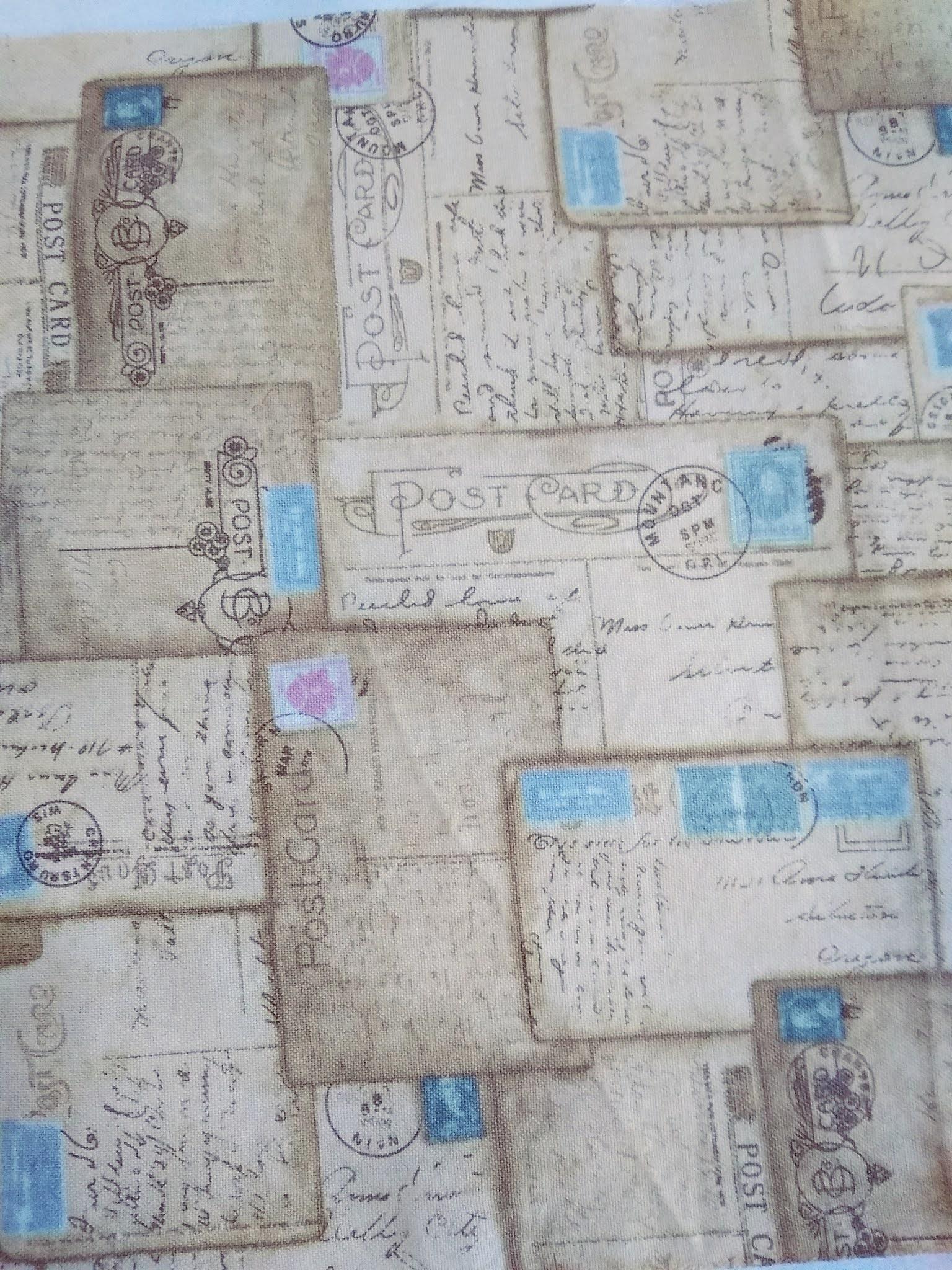 tkanina bawełniana w kartki pocztowe