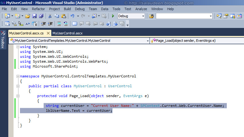 sharepoint 2010 user control code behind