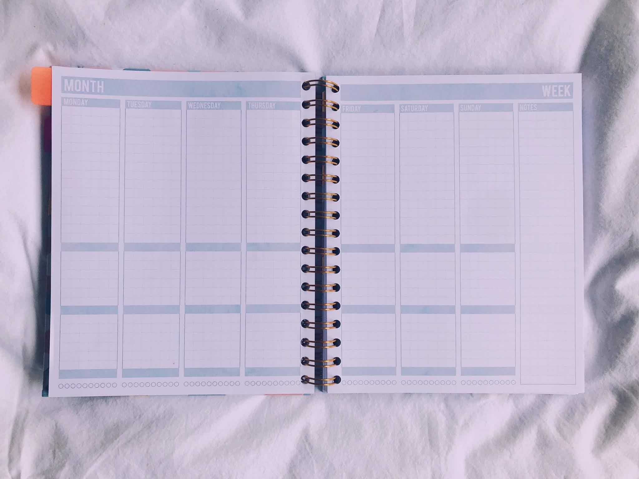 Lege pagina uit de Mascha planner.
