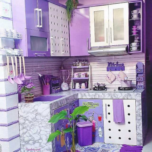 Model Motif Keramik Dinding Dapur Minimalis Keren Warna Ungu