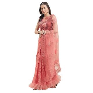 net saree for wedding reception