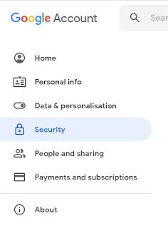 Google account securities tab