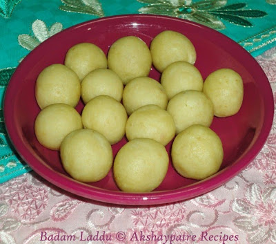 Badam or almond laddu in a serving plate