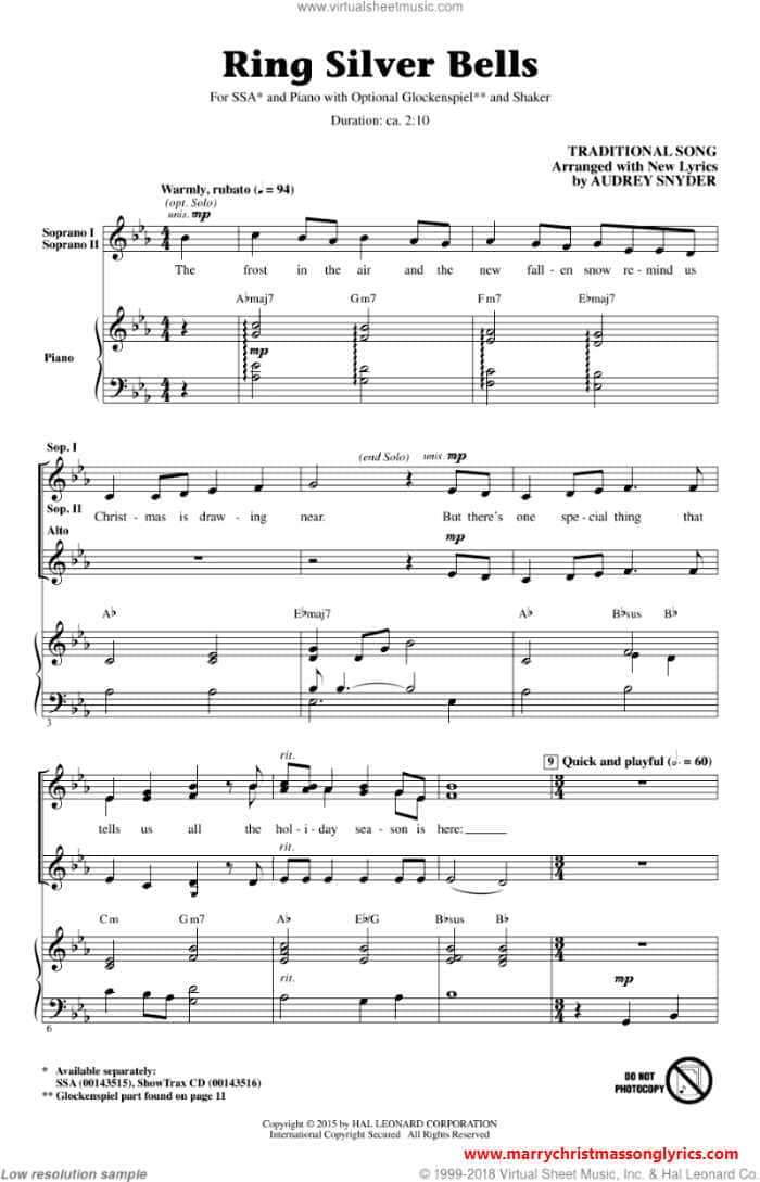 Silver Bells Song Lyrics sheet music